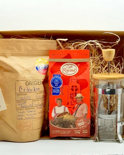 Pack regalo cafetera prensa francesa+ 2 paquetes de Café